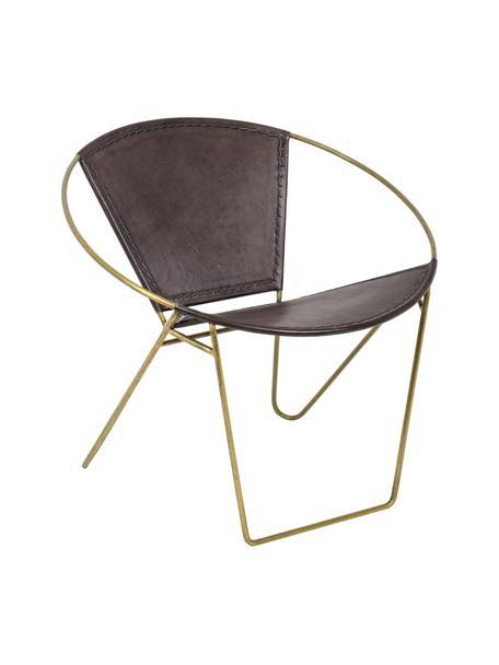 Sillón de cuero Sanpark, Asiento: cuero, Estructura: metal, Marrón oscuro, dorado, An 80 x F 57 cm