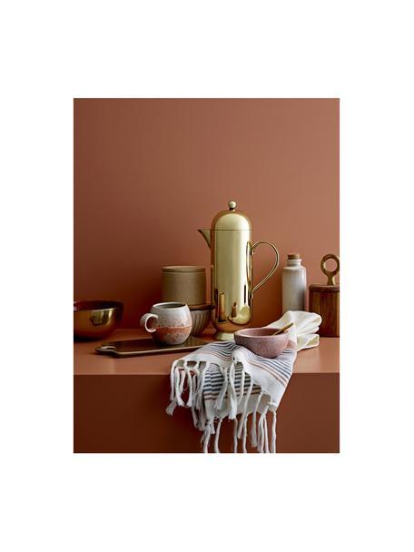 Marmeren schalen Spoon in roze met lepel, 2-delig, Schaal: marmer, Lepel: messing, Roze, gemarmerd, Ø 10 x H 5 cm