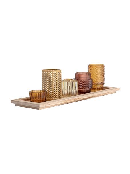Set de portavelas de vidrio Elviena, 6pzas., Portavelas: vidrio, Bandeja: madera de Paulownia, Tonos marrones transparente, An 43 x Al 11 cm