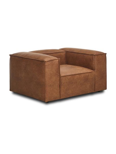 Fotel ze skóry z recyklingu Lennon, Tapicerka: skóra z recyklingu (70% s, Nogi: tworzywo sztuczne Nogi zn, Brązowy, S 130 x G 101 cm
