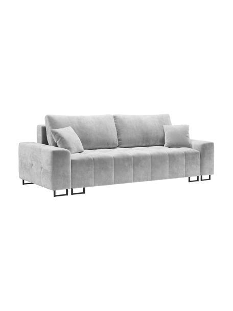 Sofa rozkładana z aksamitu z miejscem do przechowywania Byron (3-osobowa), Tapicerka: aksamit poliestrowy Dzięk, Nogi: metal lakierowany, Jasny szary, S 250 x G 105 cm