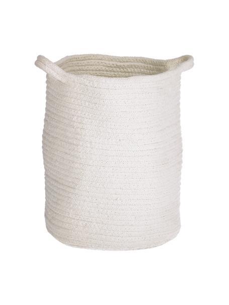 Handgemaakte katoenen opbergmand Abeni in wit, 100% katoen, Wit, Ø 25 x H 30 cm
