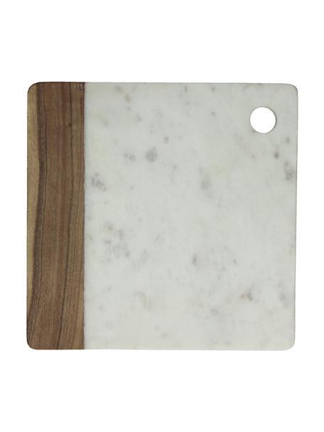 Deska do krojenia z marmuru Idli, Marmur, drewno akacjowe, Biały marmurowy, drewno akacjowe, D 25 x S 25 cm