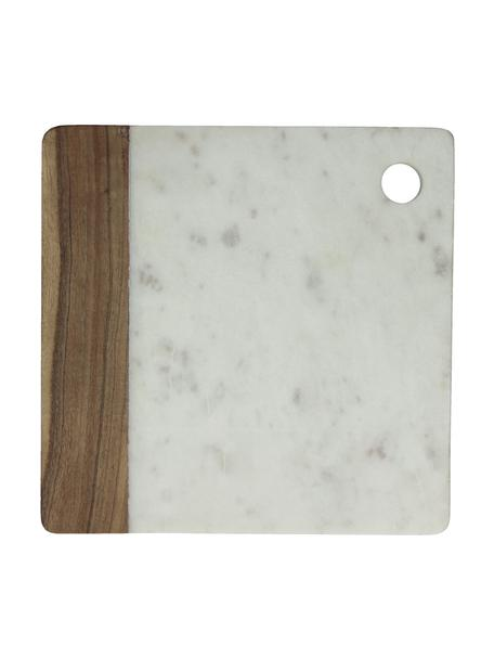 Tagliere in marmo Idli, 25x25 cm, Marmo, legno di acacia, Bianco marmorizzato, legno di acacia, Lung. 25 x Larg. 25 cm