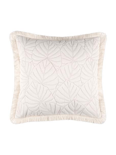 Kissenhülle Cayenne mit dekorativer Bestickung und Fransenabschluss, 100% Baumwolle, Ecru, 40 x 40 cm