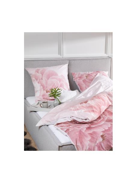 Baumwollperkal-Bettwäsche Rosario mit Aquarell Blumen-Print, Webart: Perkal Fadendichte 210 TC, Weiss, Rosa, 135 x 200 cm + 1 Kissen 80 x 80 cm