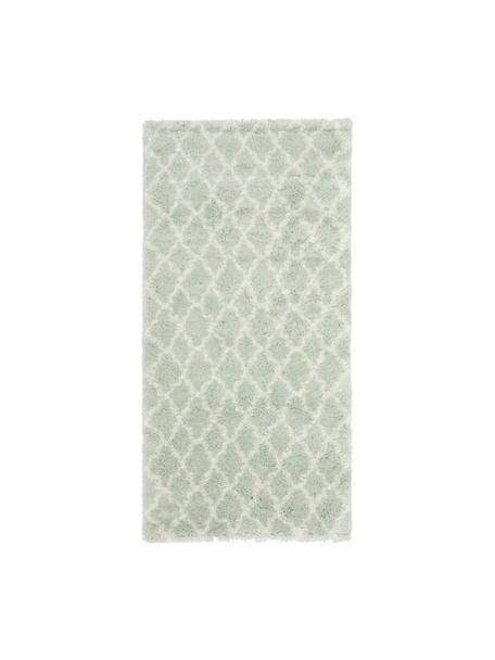 Hoogpolig vloerkleed Mona in mintgroen/crèmewit, Bovenzijde: 100% polypropyleen, Onderzijde: 78% jute, 14% katoen, 8% , Mintgroen, crèmewit, B 80 x L 150 cm (maat XS)