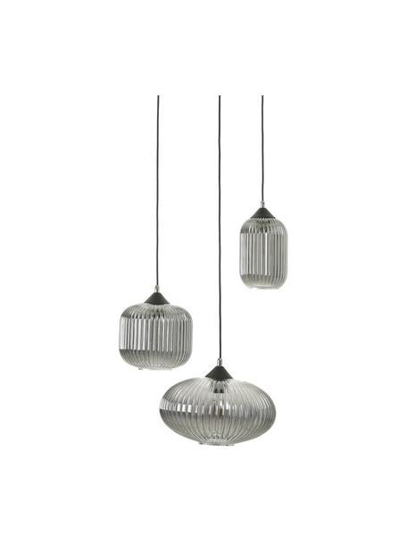 Cluster hanglamp Dali van glas, Lampenkap: glas, Baldakijn: gecoat metaal, Zwart, grijs, Ø 58 x H 200 cm