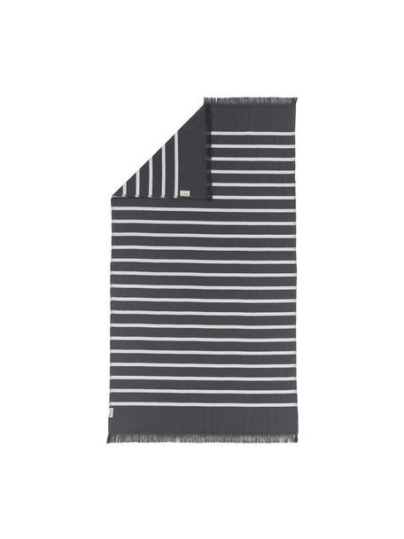 Gestreepte hamamdoek Filena, 100% katoen, Antraciet, wit, 100 x 180 cm