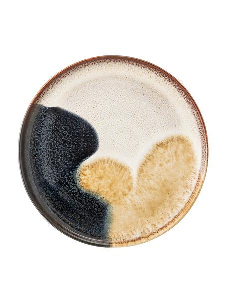 Ręcznie wykonany talerz śniadaniowy z kamionki Jules, 2 szt., Kamionka, Odcienie beżowego, odcienie brązowego, czarny, Ø 22 cm