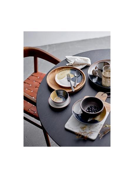 Handgefertige Frühstücksteller Jules aus Steingut, 2 Stück, Steingut, Beige- und Brauntöne, Schwarz, Ø 22 cm