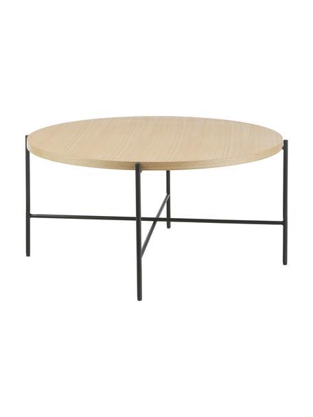Mesa de centro Mica, con tablero de madera, Tablero: fibras de densidad media , Estructura: metal con pintura en polv, Marrón, Ø 82 x Al 41 cm