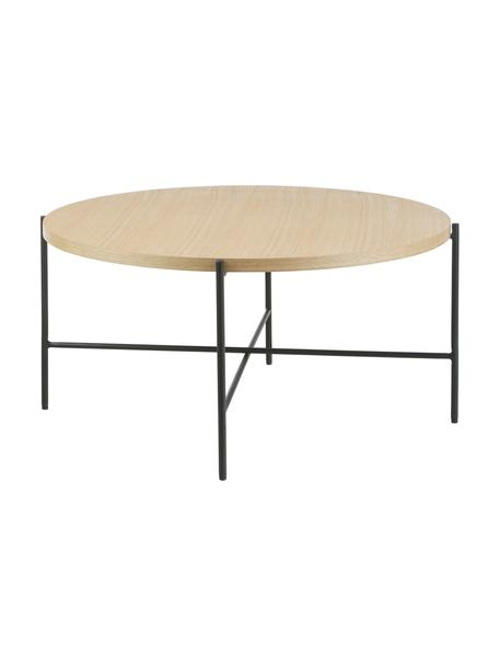 Tavolino da salotto con piano in legno Mica, Struttura: metallo verniciato a polv, Marrone, Ø 82 x Alt. 41 cm