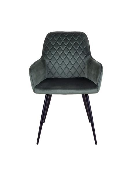 Krzesło z podłokietnikami z aksamitu Harbo, 2 szt., Tapicerka: aksamit poliestrowy, Nogi: metal powlekany, Zielony, czarny, S 57 x G 65 cm
