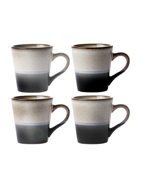 Set 4 tazze fatte a mano stile retrò 70's, Gres, Nero, bianco, Ø 6 x Alt. 6 cm