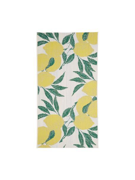Tappeto da interno-esterno con stampa limoni Limonia, 86% polipropilene, 14% poliestere, Bianco crema, giallo, verde, Larg. 80 x Lung. 150 cm (taglia XS)