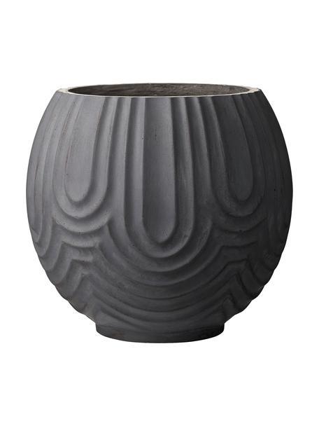Portavaso rotondo fatto a mano Sarah, Argilla fibrosa, Nero, Ø 37 x Alt. 37 cm