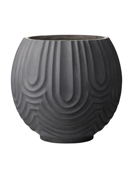 Ręcznie wykonana osłonka na doniczkę Sarah, Glina włóknista, Czarny, Ø 37 x W 37 cm