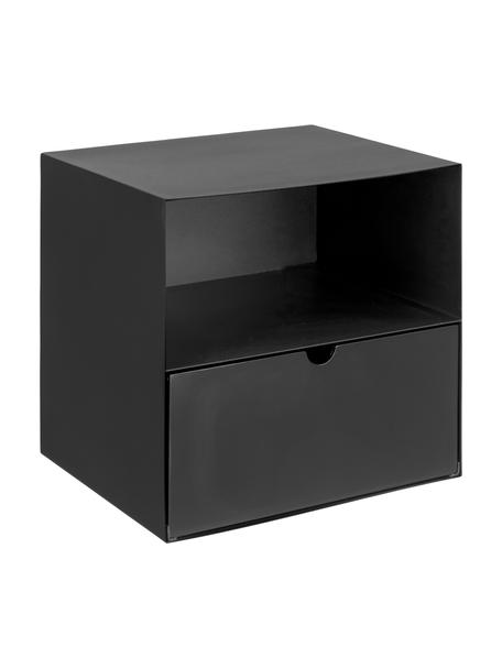 Comodino da parete nero con cassetto Joliet, Struttura: metallo verniciato a polv, Nero, Larg. 30 x Alt. 30 cm