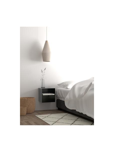 Mesita de noche de pared con cajón Joliet, Estructura: metal con pintura en polv, Negro, An 30 x Al 30 cm