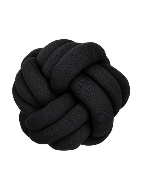 Knoten-Kissen Twist in Schwarz, Schwarz, Ø 30 cm