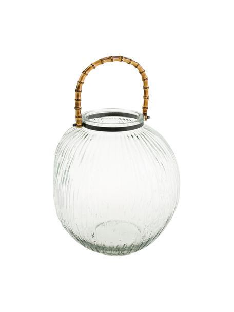 Portacandela Hyde, Portacandela: vetro, Maniglia: bambù, Trasparente, marrone, Ø 28 x Alt. 32 cm