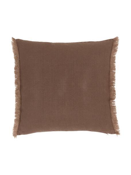 Leinen-Kissenhülle Luana in Braun mit Fransen, 100% Leinen  Leinen hat von Natur aus eher eine grobe Haptik und einen natürlichen Knitterlook. Die hohe Reißfestigkeit macht Leinen scheuerfest und strapazierfähig., Braun, 40 x 40 cm