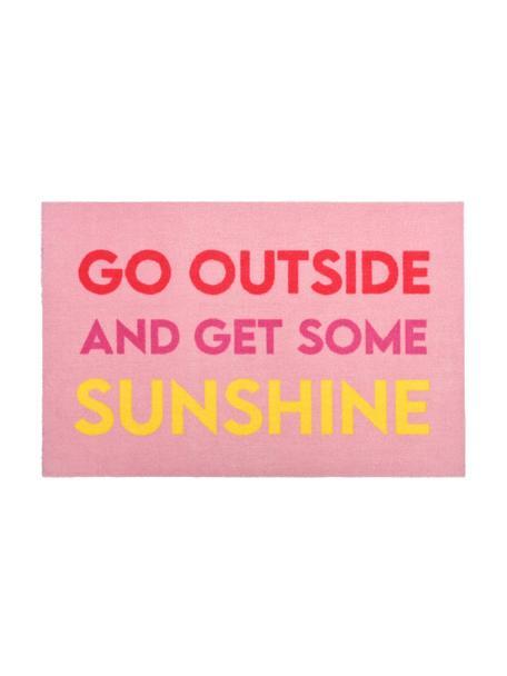 Wasbare polyamide deurmat Go Outside met opschrift, Bovenzijde: polyamide, Onderzijde: latex gel-schuim, Roze, rood, geel, 50 x 75 cm