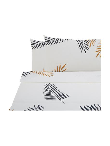 Set lenzuola in cotone Foliage, Tessuto: Renforcé Numero di fili 1, Bianco, giallo ocra, nero, 240 x 270 cm + 2 federe 50 x 75 cm