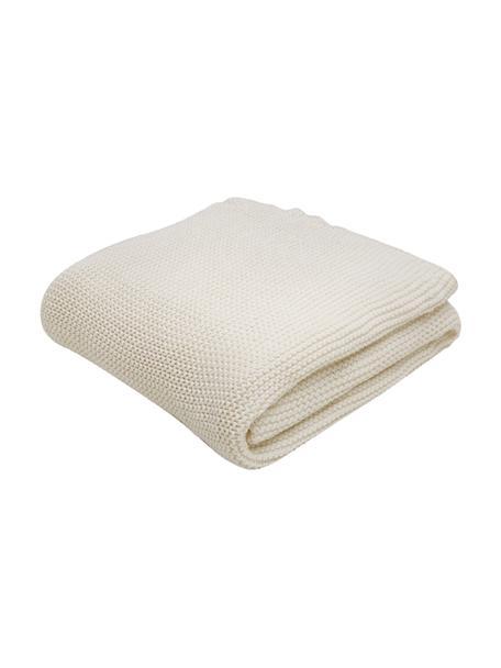 Koc z dzianiny Adalyn, 100% bawełna, Naturalny biały, S 150 x D 200 cm