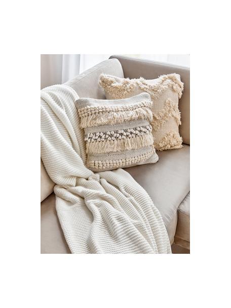 Manta de punto de algodón ecológico Adalyn, 100%algodón ecológico, certificado GOTS, Blanco natural, An 150 x L 200 cm