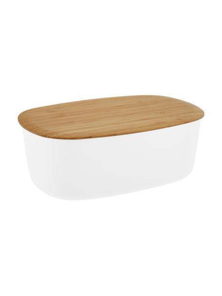 Design broodtrommel Box-It in wit met snijplank als deksel, Deksel: bamboe, Pot: wit. Deksel: bruin, 35 x 12 cm
