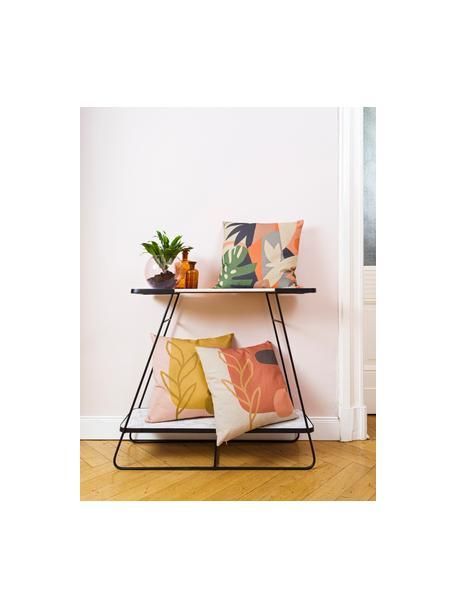 Poszewka na poduszkę Images, 85% bawełna, 15% len, Żółty, blady różowy, jasny brązowy, S 50 x D 50 cm
