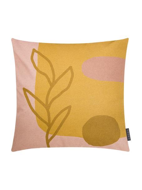 Kussenhoes Images met abstract motief, 85% katoen, 15% linnen, Geel, roze, lichtbruin, 50 x 50 cm