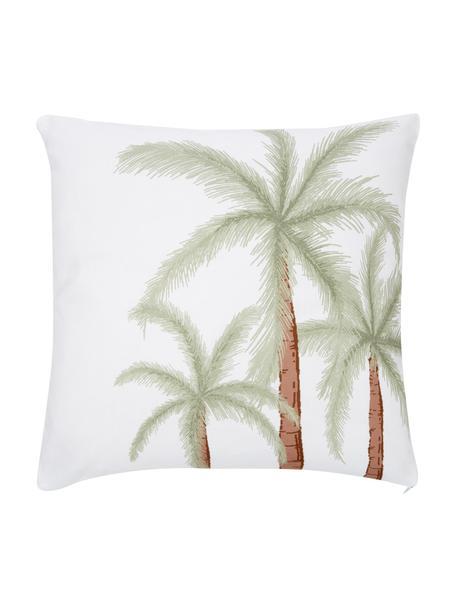 Kissenhülle Palima mit Palmenprint, 100% Bio-Baumwolle, GOTS-zertifiziert, Weiß, Grün, 45 x 45 cm