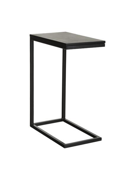 Mangoholz-Beistelltisch Celow, Tischplatte: Massives Mangoholz, lacki, Gestell: Metall, pulverbeschichtet, Schwarz, 45 x 62 cm