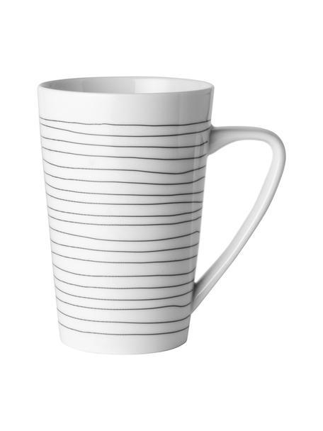 Tazza con decoro a righe Eris Loft 4 pz, Porcellana, Bianco, nero, Ø 9 x Alt. 13 cm