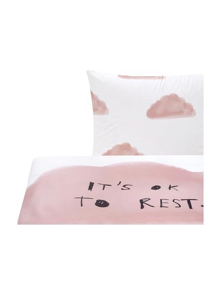 Dwustronna pościel z perkalu Rest od Kery Till, Blady różowy, biały, 135 x 200 cm + 1 poduszka 80 x 80 cm