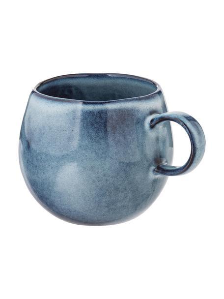 Handgemaakte kopje Sandrine in blauw, Keramiek, Blauwtinten, Ø 10 x H 10 cm