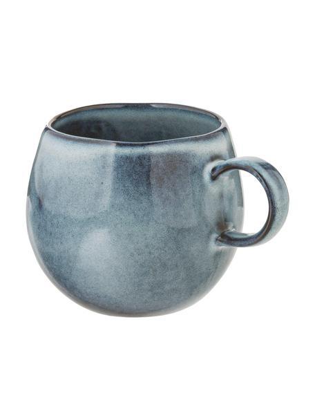 Taza de café artesanal de gres Sandrine, Gres, Tonos azules, Ø 10 x Al 10 cm