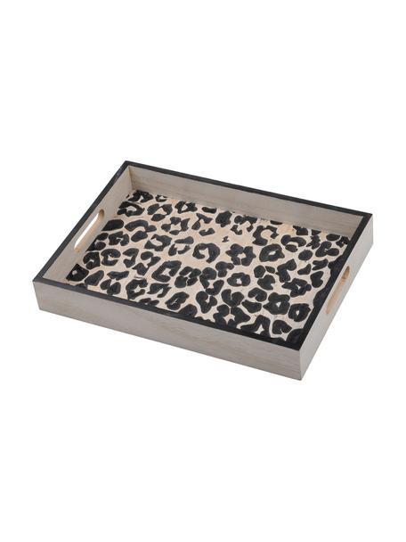 Serviertablett Leopard aus Holz, L 35 x B 25 cm, Mitteldichte Holzfaserplatte (MDF), Beige, Schwarz, 25 x 35 cm