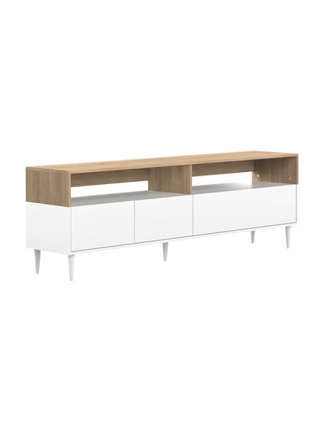 Mueble TV Horizon, Patas: madera de haya maciza pin, Roble, blanco, An 180 x Al 61 cm