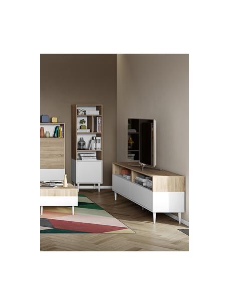 Tv-meubel Horizon in wit met eikenhout optiek, Poten: beukenhout massief, gelak, Eikenhoutkleurig, wit, 180 x 61 cm