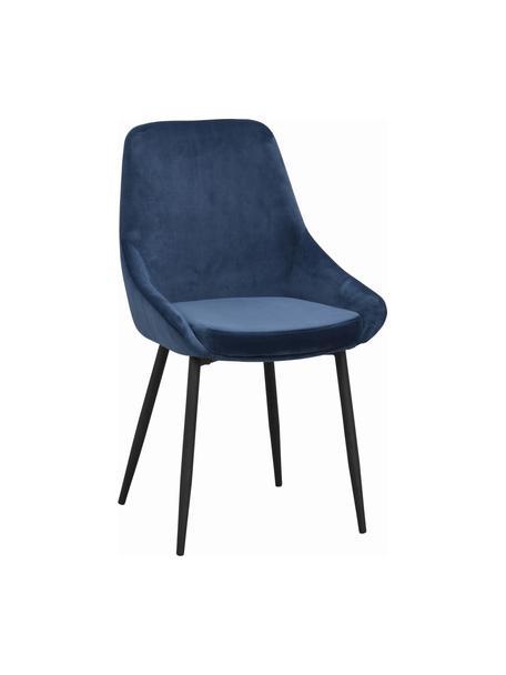 Sedia imbottita in velluto Sierra 2 pz, Rivestimento: 100% velluto di poliester, Gambe: metallo verniciato, Blu scuro, nero, Larg. 49 x Alt. 55 cm