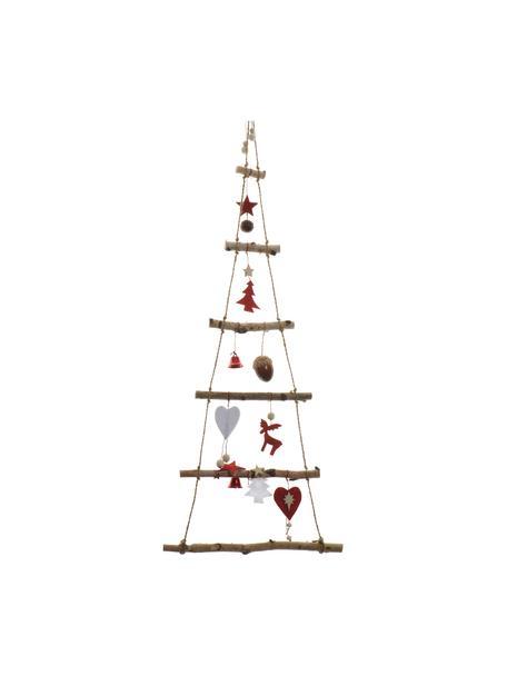 Albero di Natale da parete in legno Rinde, alt. 100 cm, Legno di betulla, Legno di betulla, rosso, Larg. 34 x Alt. 100 cm