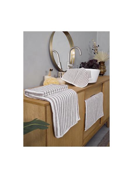 Gestreepte handdoek Viola, 100% katoen, middelzware kwaliteit, 550 g/m², Taupe, crèmewit, Gastendoekje
