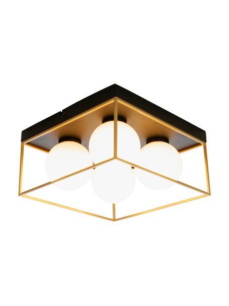 Kleine plafondlamp Astro van opaalglas, Lampenkap: opaalglas, Baldakijn: gecoat metaal, Goudkleurig, zwart, wit, 28 x 15 cm