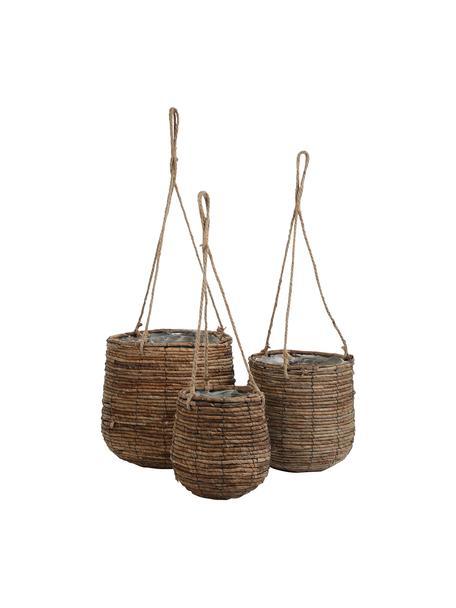 Set de macetas colgantes Santo, 3uds., con bolsa de plástico, Hojas de palmera, Marrón, Set de diferentes tamaños