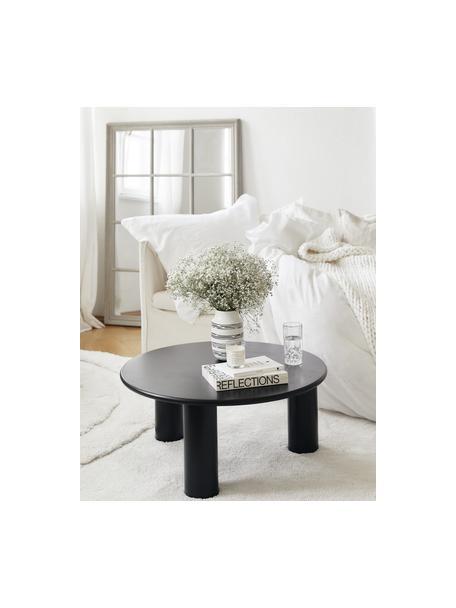 Tavolino rotondo da salotto in legno di quercia Didi, Legno di quercia massiccio, verniciato, Nero, Ø 80 x Alt. 35 cm