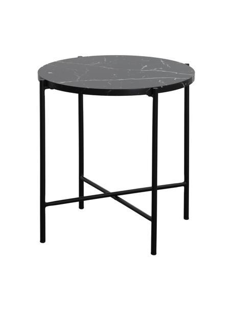 Stolik pomocniczy z imitacji marmuru Fria, Blat: płyta pilśniowa średniej , Stelaż: metal malowany proszkowo, Blat: czarny, marmurowy, matowy Stelaż: czarny, matowy, Ø 45 x W 46 cm